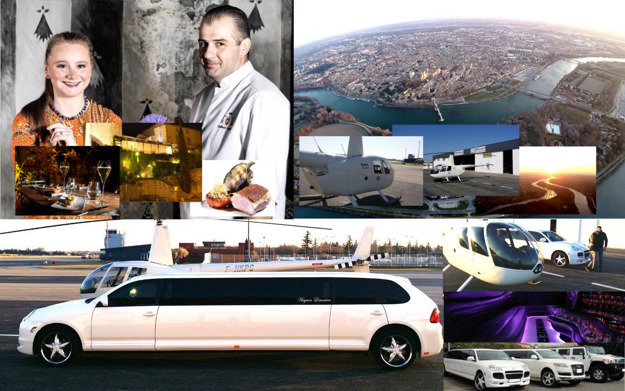 image du pack hélicoptère restaurant et limousine