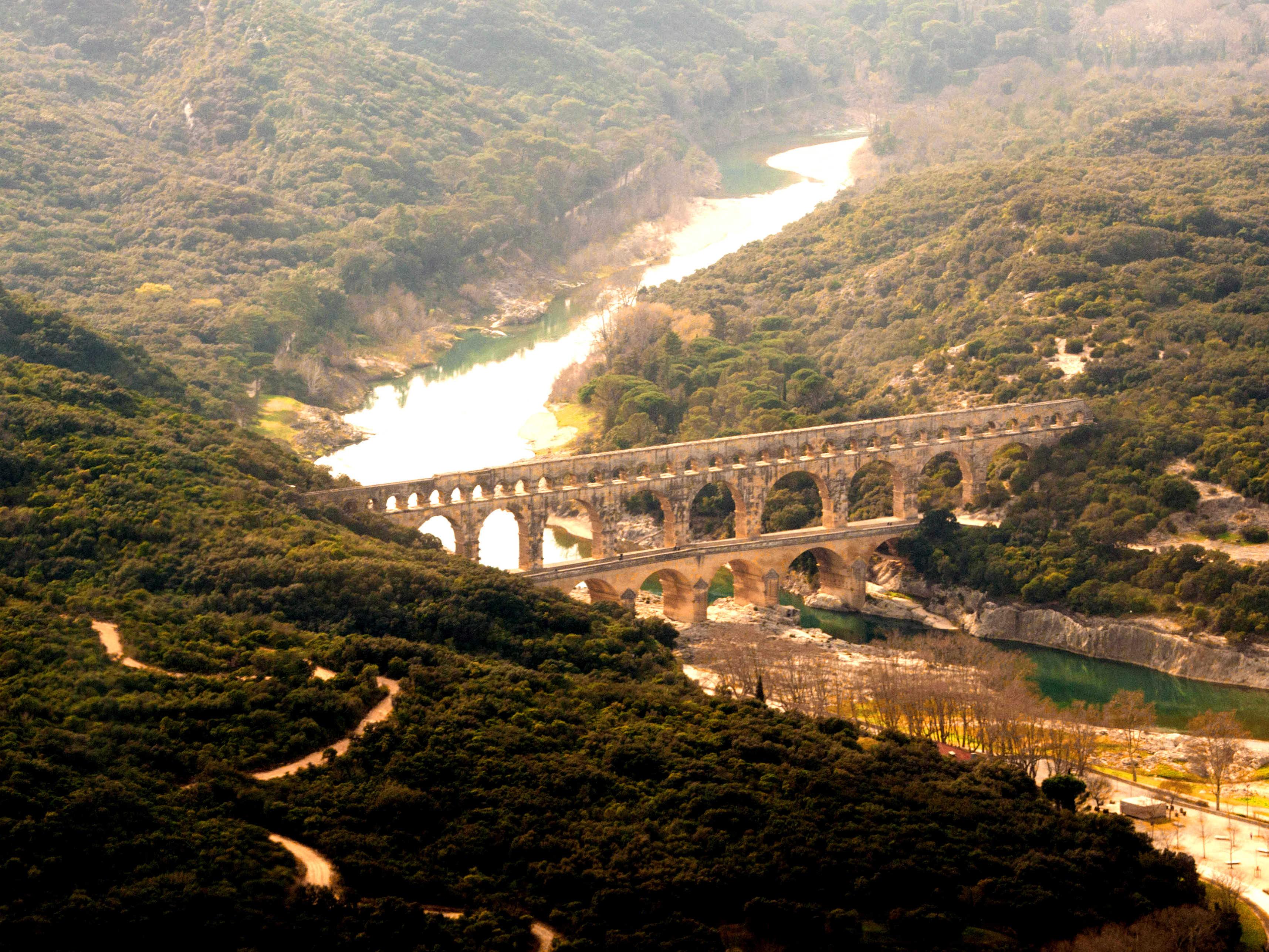 Le Pont du Guard Vue Aérienne en Hiver