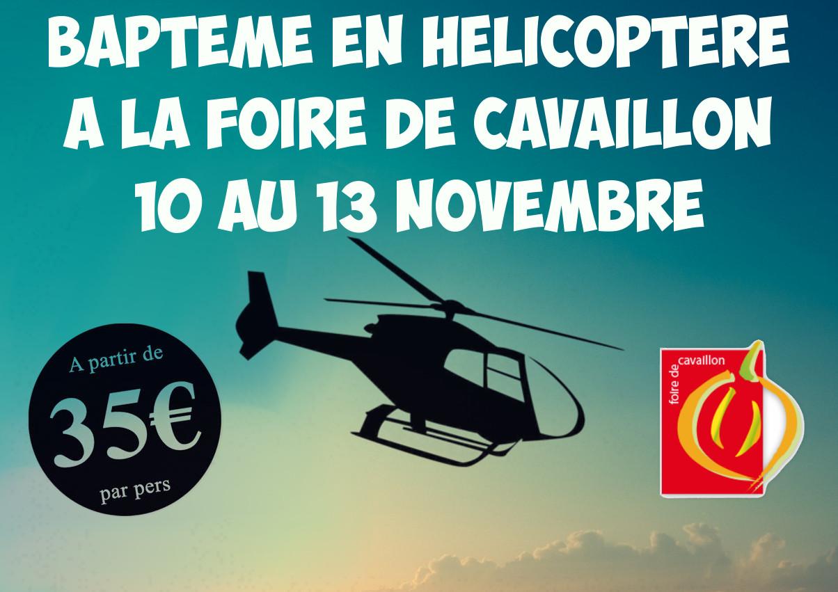 affiche bapteme en helicoptere foire de Cavaillon