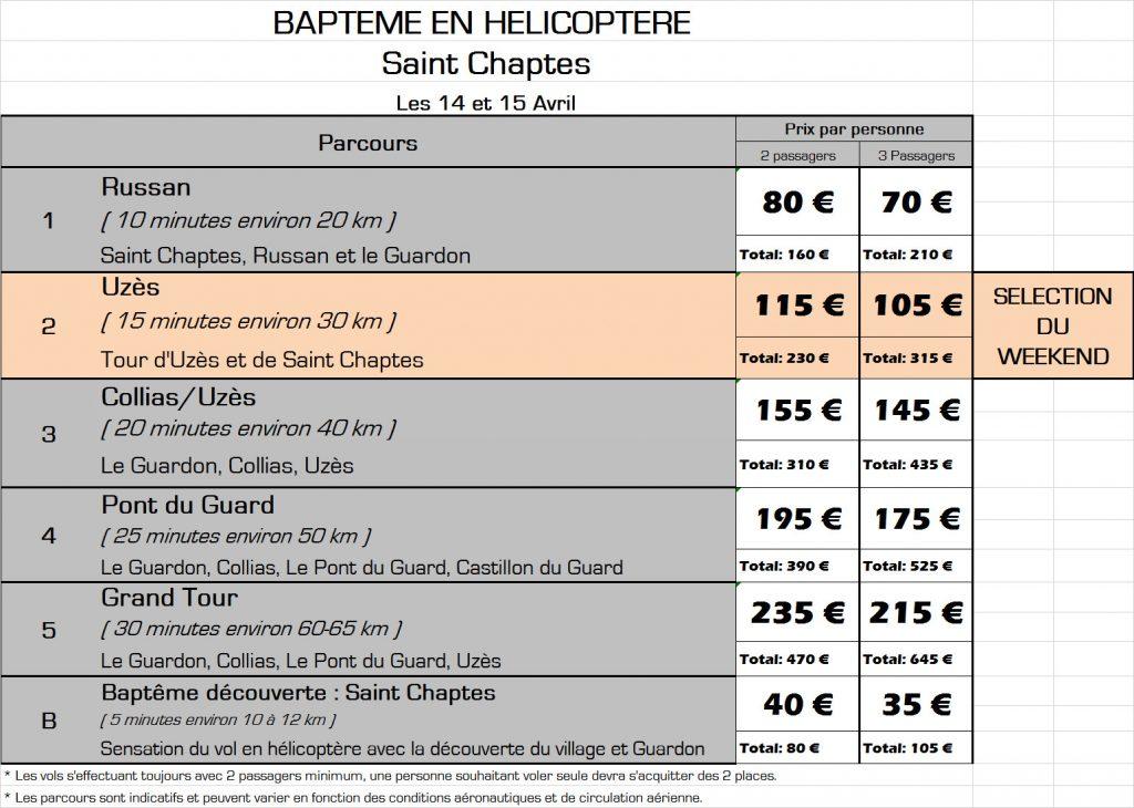 Tarifs des baptêmes de l'air en hélicoptère à Saint Chaptes